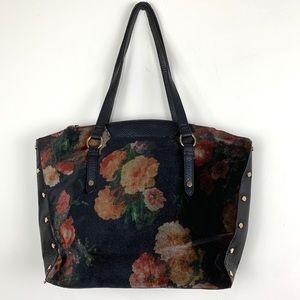 Enzo Angiolini Floral Velvet Black Tote Handbag